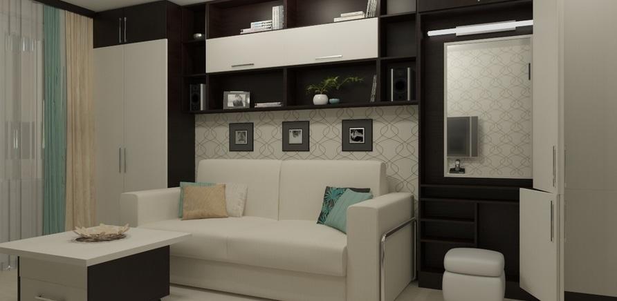 Фото 2 - В этом случае была спроектирована мебель со встроенной выпадающей кроватью и спрятанным туалетным столиком, где достаточно места для хранения вещей и одежды. В то же время в сложенном состоянии комната выглядит как гостиная