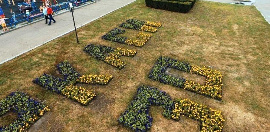 Фото 1 - У середмісті створили квіткову композицію з нагоди Дня міста