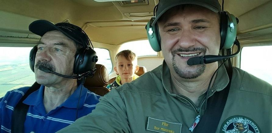 Во время тренировочного полета с сыном Николаем