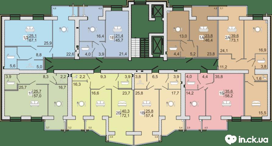 1 секция 2-6 этаж