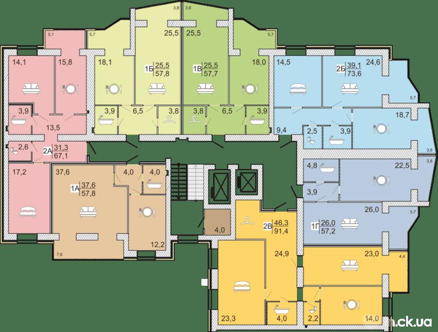 3 секция 2-6 этаж