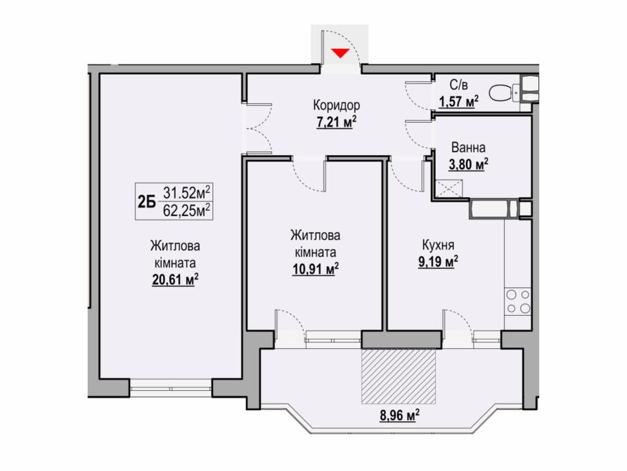 2-кімнатна квартира 66,95 кв. м