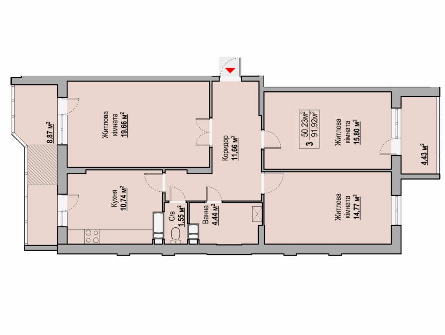 3-кімнатна квартира 91,92 кв.м