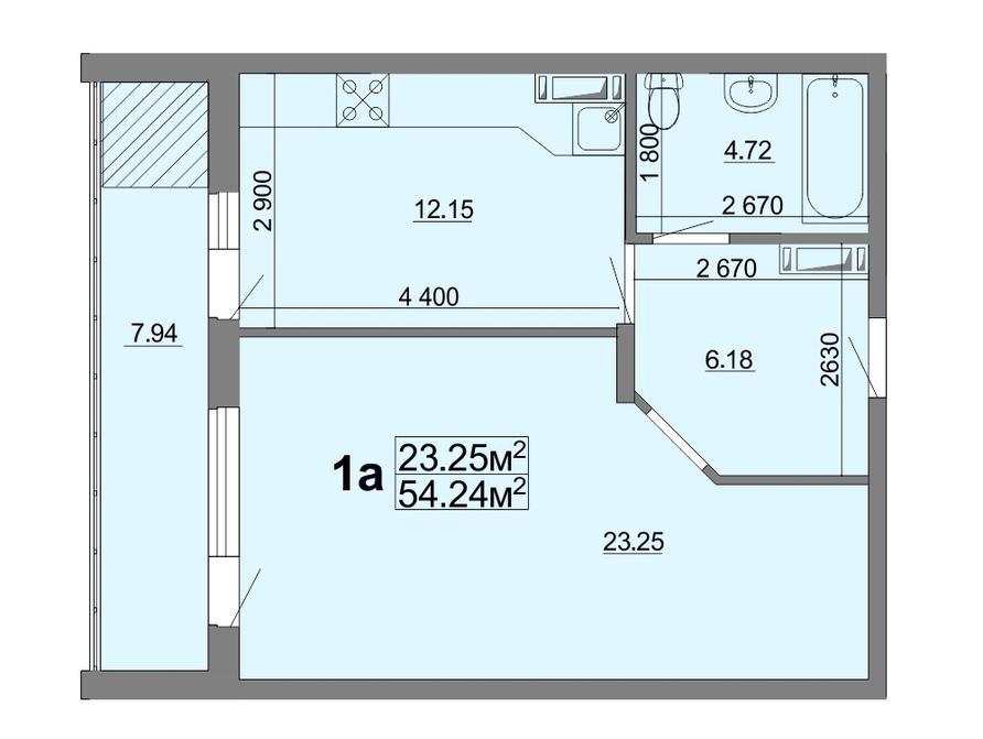1-кімнатна квартира 54,24 кв.м