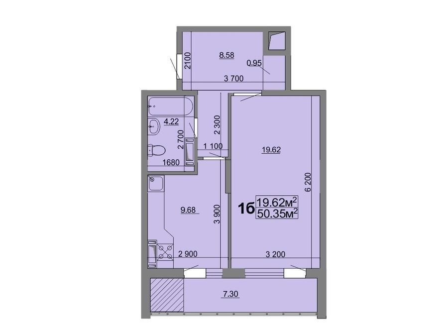 1-кімнатна квартира 50,35 м2