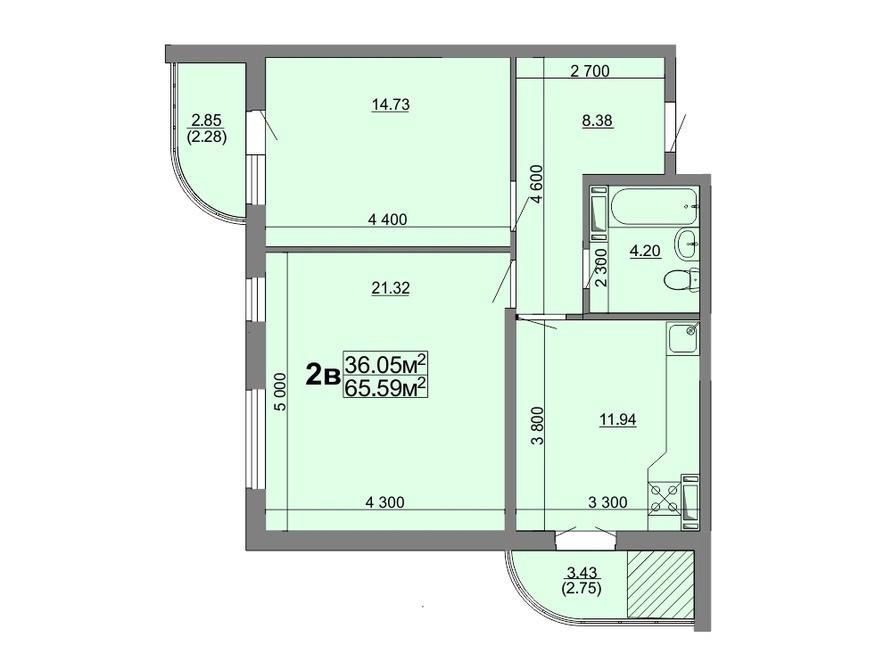 2-кімнатна квартира 65,59 кв.м