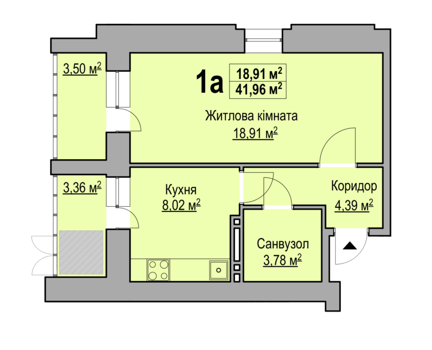 1-кімнатна квартира 41,96 кв.м