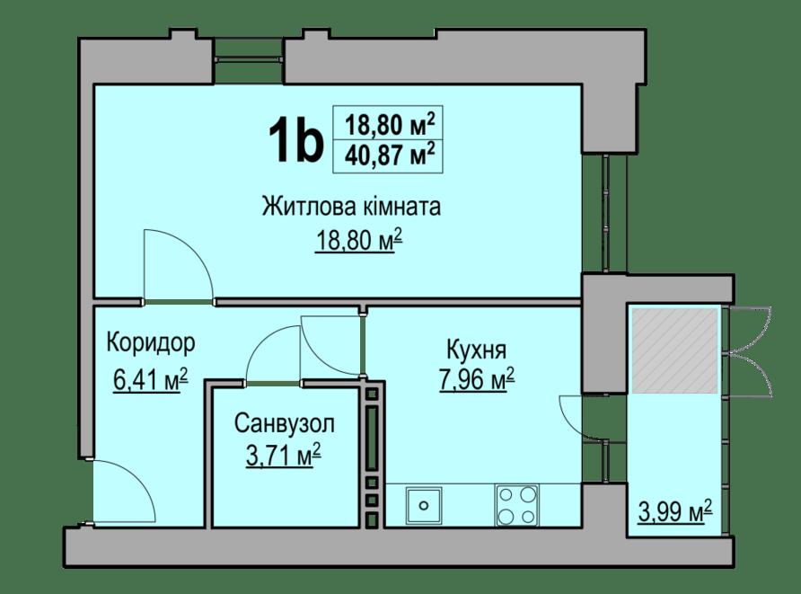 1-кімнатна квартира 40,87 кв.м