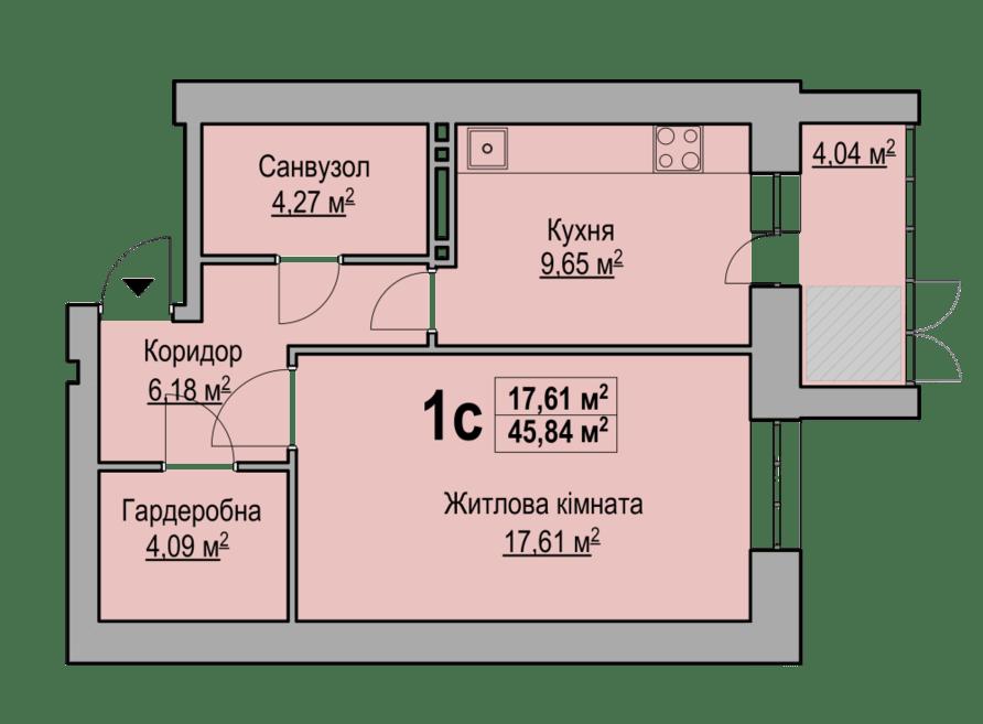 1-кімнатна квартира 47,74 кв.м