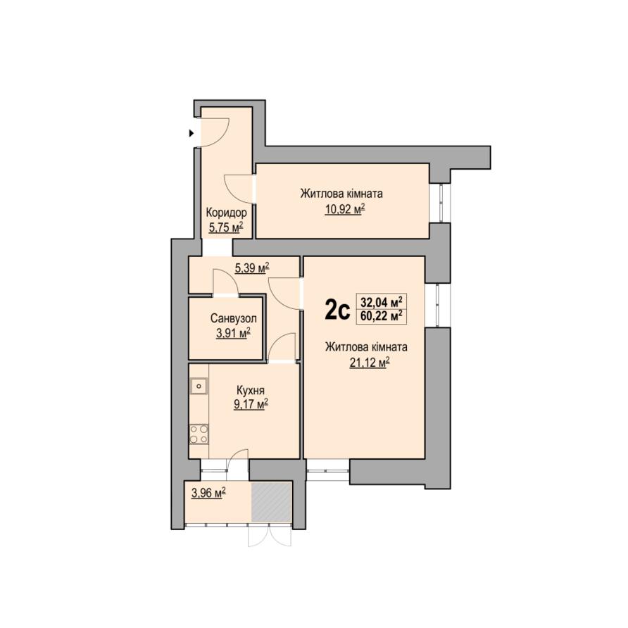 2-кімнатна квартира 60,22 кв.м