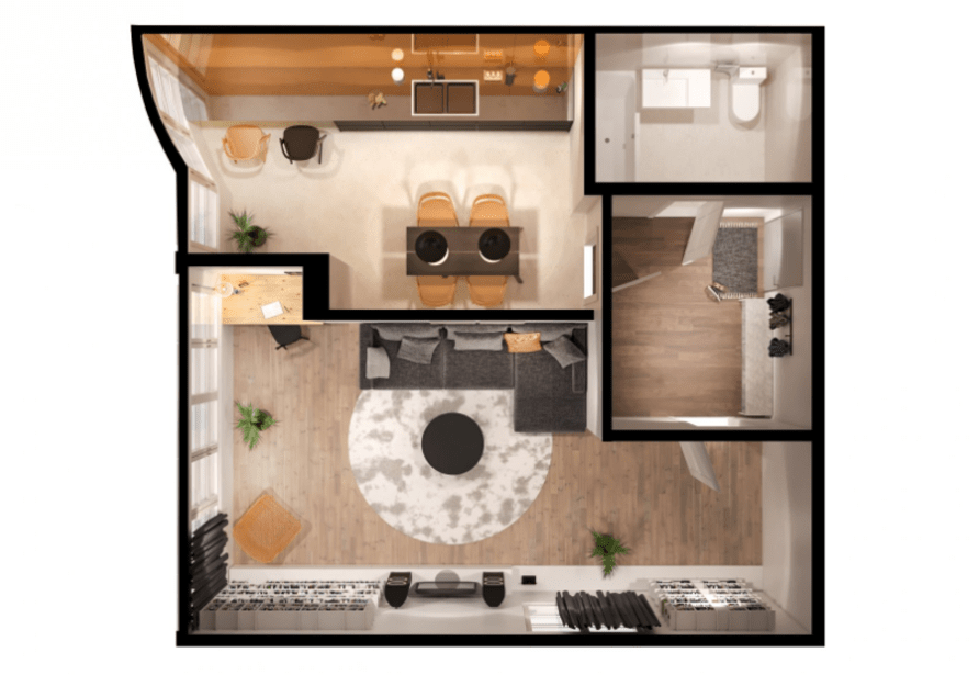 1-кімнатна квартира 46,98 кв.м
