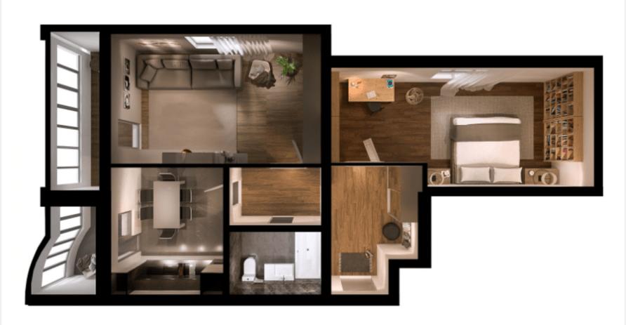 2-кімнатна квартира 75,63 кв.м