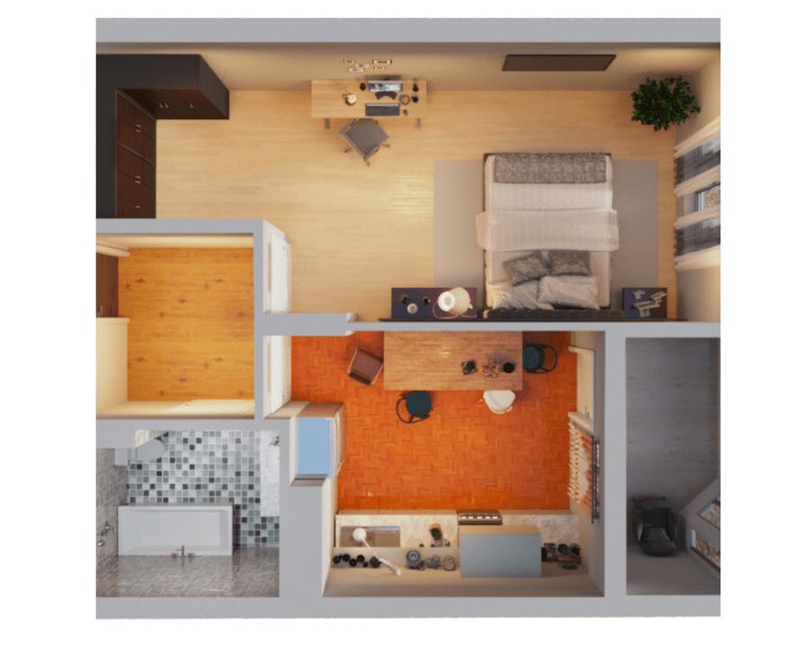 1-кімнатна квартира 43,50 кв.м