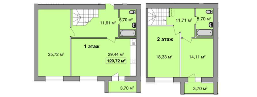Дворівнева трикімнатна квартира 129,72 кв.м. Ціна: 1 076 676 грн