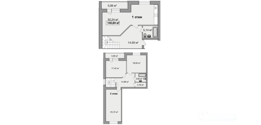 Дворівнева чотирикімнатна квартира 140,84 кв.м. Ціна: 1 168 972 грн