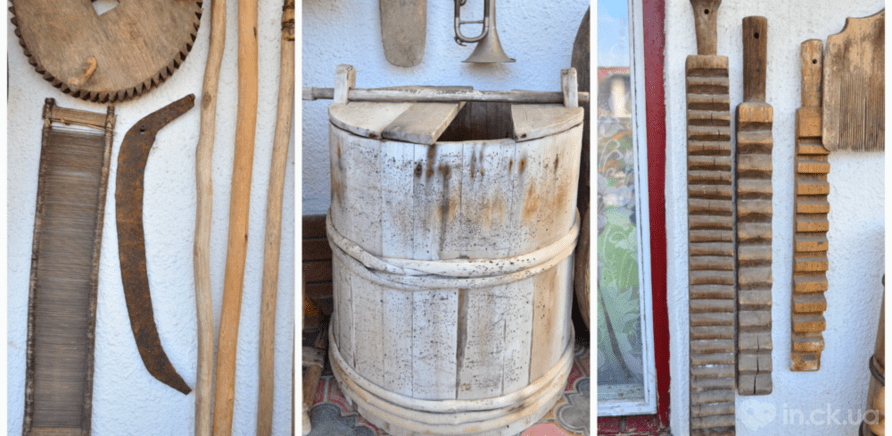 Фото 6 - Коса, якій близько 500 років; бодня, де солили сало і м'ясо; рубель, яким прасували