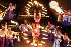 Сварожичі, вогняне шоу, піротехнічне шоу, велетні на ходулях