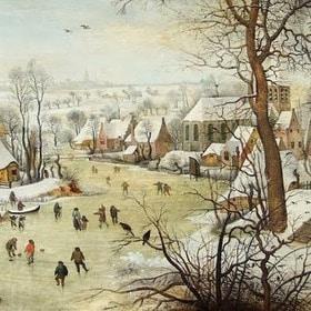 Новый год  2019 - Зимний пейзаж с конькобежцами
