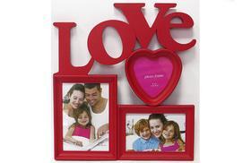 День Св. Валентина - Фоторамка коллаж настенная с сердечком (красная)
