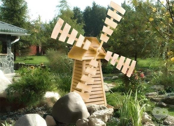 Как сделать мельницу из дерева декоративную