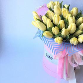ХИТ! Тюльпаны в шляпной коробке 25 шт – размер М