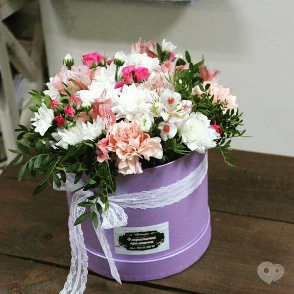 Квітчарня, свадебный декор и флористика - Цветочная композиция в шляпной коробке №1