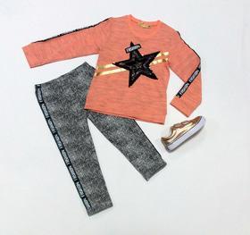 Маевка - Комплект для девочки футболка и лосины Звезда паетки