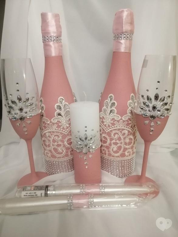 Фото-2 OROVI, Оформление и организация праздников - Свадебный набор со стразами – шампанское, бокалы, свечи в розовом цвете