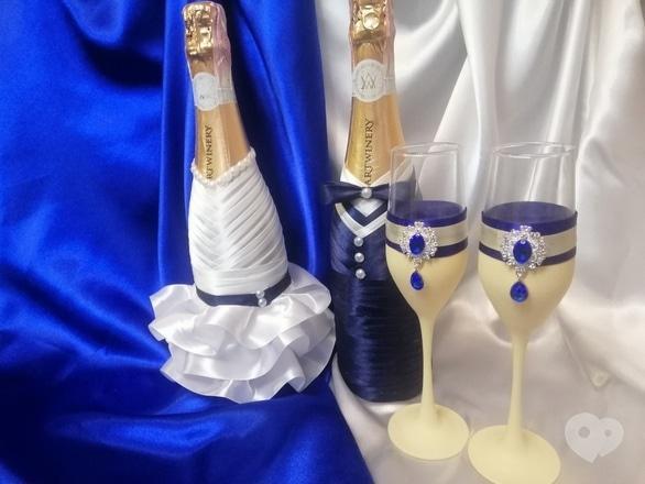Фото-1 OROVI, Оформление и организация праздников - Свадебный набор со стразами – шампанское, бокалы, свечи в розовом цвете